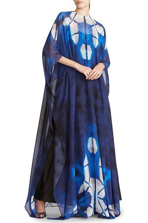 Halston Heritage Women's x Netflix Elsa Tie-Dyed Chiffon Caftan - Sapphire - Size 10