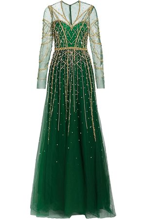 Pamella Roland Women's Long Sleeve Embellished Gown - Emerald - Size 6