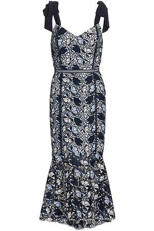 ML Monique Lhuillier Women's Lace Flounce Midi Dress - Navy Multi - Size 8