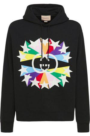 Gucci Men Hoodies - Interlocking G Star Print Cotton Hoodie
