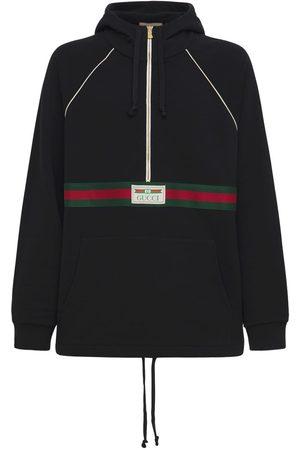 Gucci Men Hoodies - Logo Web Half-zip Cotton Jersey Hoodie