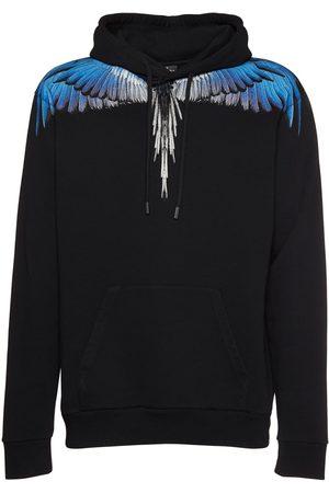 MARCELO BURLON Men Hoodies - Printed Wings Cotton Jersey Hoodie