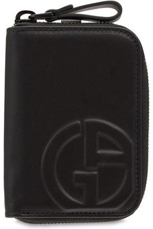 Armani Logo Leather Zip Wallet