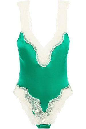 Stella McCartney Women Lingerie Bodies - Woman Lace-trimmed Stretch-silk Satin Bodysuit Size L