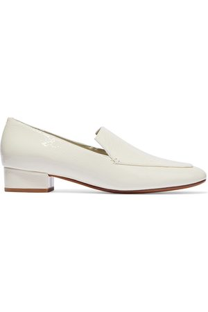 Vince Women Heeled Pumps - Woman Fauna Crinkled Patent-leather Loafers Ivory Size 10