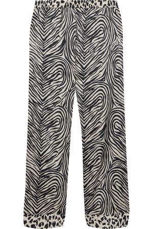 Stella McCartney Woman Maggie Twisting Printed Silk-blend Satin Pajama Pants Animal Print Size L