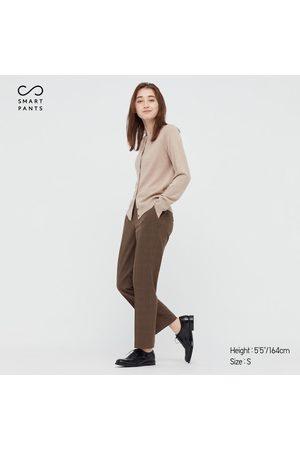 UNIQLO Women Stretch Pants - Women's Smart 2-Way Stretch Glen Checked Ankle-Length Pants, Brown, XXS
