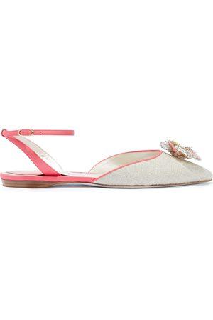 RENÉ CAOVILLA Women Flat Shoes - Woman Floral-appliquéd Leather-trimmed Woven Point-toe Flats Size 35