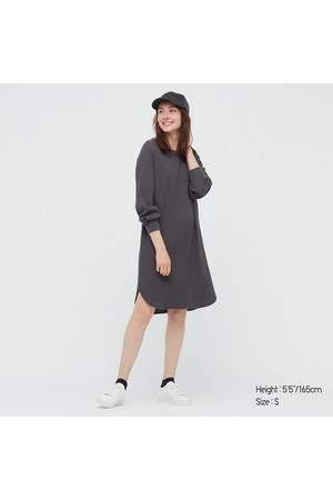 UNIQLO Women Long sleeves - Women's Waffle Crew Neck Long-Sleeve Dress, Gray, XXS