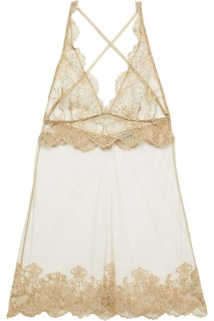 I.D. Sarrieri Women Nightdresses & Shirts - Woman Metallic Embroidered Tulle Chemise Size 2