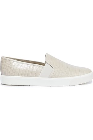 Vince Women Flat Shoes - Woman Blair 5 Croc-effect Leather Slip-on Sneakers Ecru Size 10