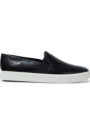 Vince Women Flat Shoes - Woman Blair 5 Snake-effect Leather Slip-on Sneakers Size 10