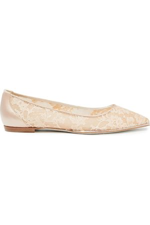 RENÉ CAOVILLA Woman Grace Crystal-embellished Corded Lace And Satin Point-toe Flats Neutral Size 34