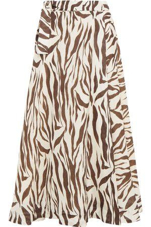 ZIMMERMANN Women Printed Skirts - Woman Fiesta Zebra-print Linen Midi Wrap Skirt Ivory Size 0