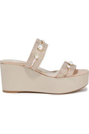 RENÉ CAOVILLA Women Heeled Sandals - Woman Crystal-embellished Suede Wedge Sandals Platinum Size 36