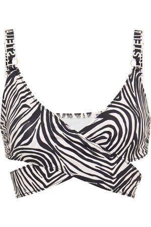 Stella McCartney Women Bikinis - Woman Wrap-effect Zebra-print Bikini Top Animal Print Size L