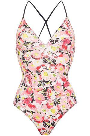 Stella McCartney Woman Linda Lace-up Floral-print Swimsuit Size L