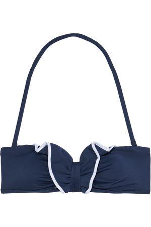 I.D. Sarrieri Woman Ruffled Bandeau Bikini Top Navy Size 0