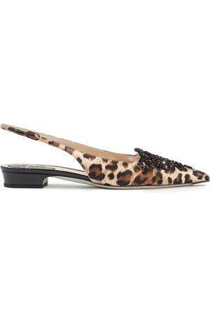 RENÉ CAOVILLA Woman Operina Embellished Leopard-print Satin Slingback Point-toe Flats Animal Print Size 35