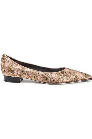 RENÉ CAOVILLA Woman Crystal-embellished Metallic Tweed Point-toe Flats Copper Size 34