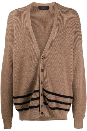 Dsquared2 Men Cardigans - Stripe-trim rib-knit cardigan
