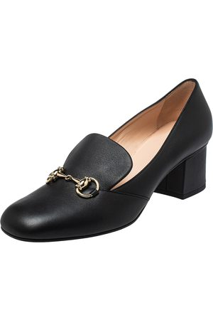 Gucci Women Heeled Pumps - Leather Horsebit Block Heel Loafer Pumps Size 39.5