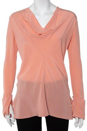 Chloé Silk Draped Neck Long Sleeve Top S