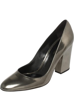 Sergio Rossi Olive Patent Leather Block Heel Pumps Size 41