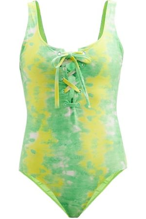 Ganni Scoop-neck Abstract-print Jersey Swimsuit - Womens - Multi