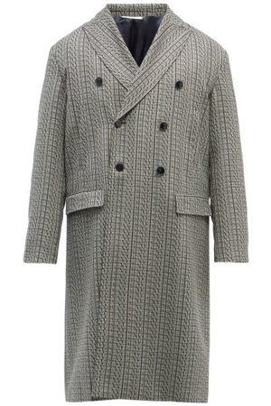 VALENTINO Vltn-print Check Wool-twill Overcoat - Mens - Grey