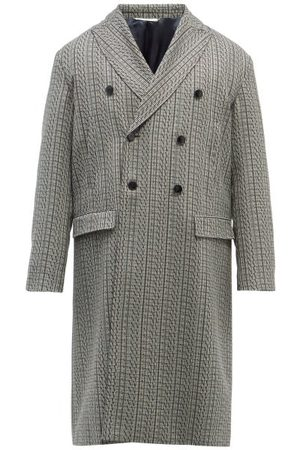 VALENTINO Vltn Times-print Check Wool-twill Overcoat - Mens - Grey
