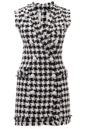Balmain Houndstooth Cotton-blend Eyelash-tweed Mini Dress - Womens
