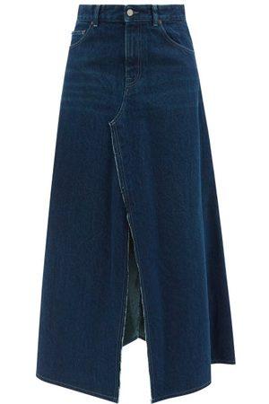 MM6 MAISON MARGIELA Women Denim Skirts - Slit-front Denim Skirt - Womens - Denim