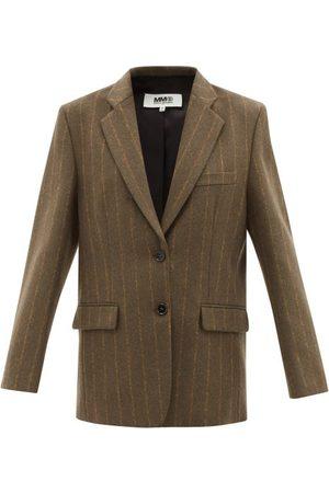 MM6 MAISON MARGIELA Pinstriped Wool-blend Felt Blazer - Womens