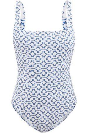 Heidi Klein Mykonos Tie-back Geometric-jacquard Swimsuit - Womens - Print