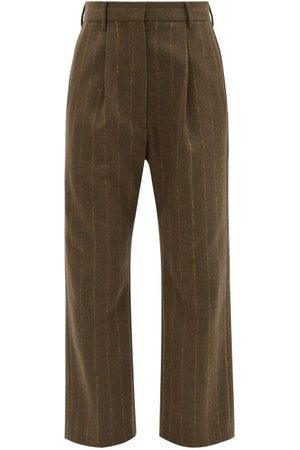 MM6 MAISON MARGIELA Single-pleat Striped Wool-blend Trousers - Womens