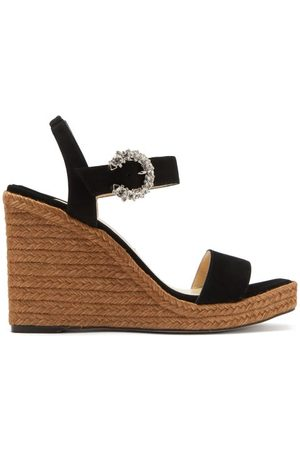 Jimmy Choo Mirabelle 110 Suede Wedge Sandals - Womens