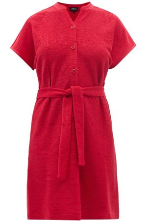 A.P.C. Nico Belted Rib-jersey Shirt Dress - Womens