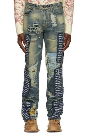 Who Decides War by MRDR BRVDO Blue Cutout Jeans