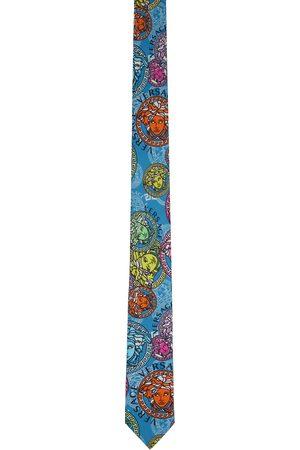 Versace Multicolor Silk Medusa Print Neck Tie
