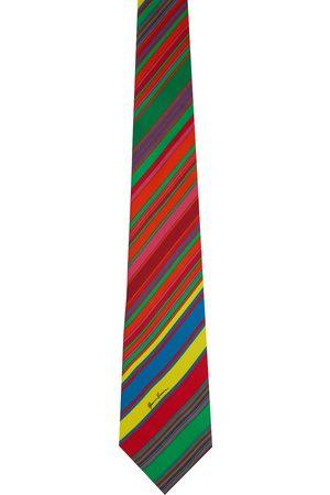 VERSACE Multicolor GV Pinstripe Print Neck Tie