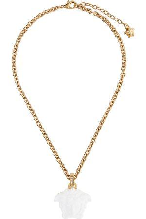 Versace White 'La Medusa' Pendant Necklace