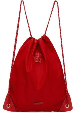 VERSACE Red 'La Medusa' Nylon Drawstring Backpack