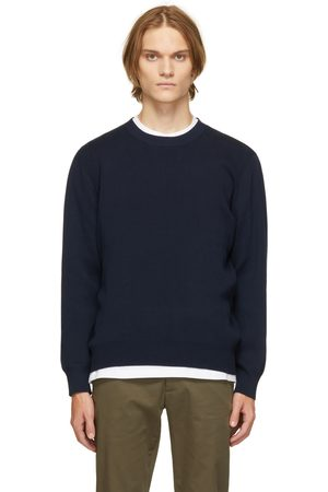 Norse Projects Navy Compact Cotton Raffo Sweater