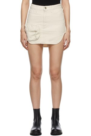 The Attico Off-White Denim Cargo Pocket Miniskirt