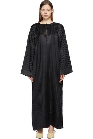 Totême Black Silk Monogram Beach Dress