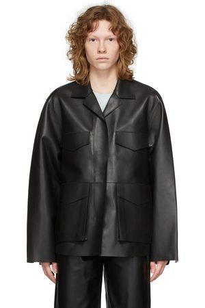 Totême Black Leather Army Jacket
