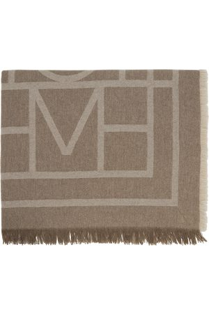 Totême Brown Wool & Cashmere Monogram Scarf