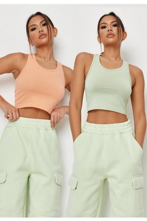 Missguided Women Tank Tops - Peach And Sage Racer Neck Tank Tops 2 Pack