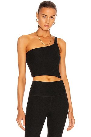 Beyond Yoga One & Only Shoulder Cropped Tank in Black